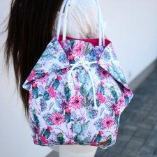 640780322ad60 Duża torba na ramię, na plażę, kolorowa w kaktusy, wodoodporna