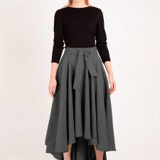 długa spódnica maksi z koła ciemny szary