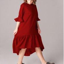 sukienka z marszczoną falbaną