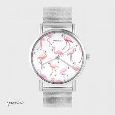 Zegarek, bransoletka - Flamingi - metalowy