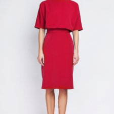 Sukienka dopasowana dołem, SUK123 czerwony