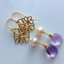 Kolczyki z ametystem i brzoskwiniową perłą