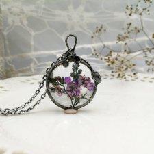 Purple meadow - naszyjnik z prawdziwymi kwiatami