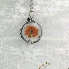 koniczyna - naszyjnik z prawdziwym kwiatem koniczyny