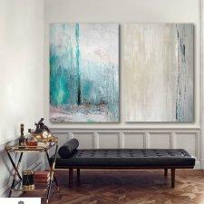 Obrazy - Abstrakcja Turkusowa - 2 sztuki - 70 x 100