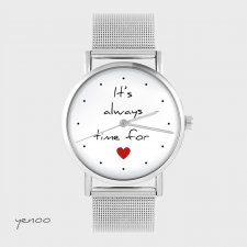 Zegarek, bransoletka - It is always time for love - metalowy