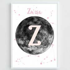 "Plakat Personalizowany 40x30 ""On the Moon"" pink"