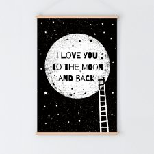 To the moon and back BLACK | plakat A3