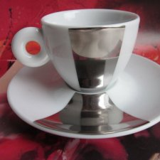 Rosenthal germany -illy colection 2002 -pistoletto - stylish platinum design finish -limited edition