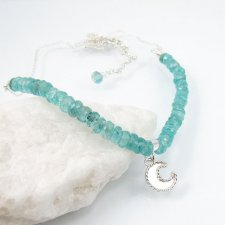 Moon charm necklace with apatite