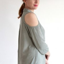 COLD SHOULDERS BLUZKA ODKRYTE RAMIONA KHAKI