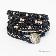 Bransoleta Boho Black and Gold