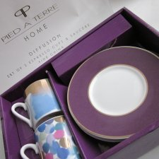 PIED A TERRE HOME  - DIFFUSION -  HOME SET OF 2 ESPRESSO CUPS AND SAUCER FINE CHINA - NOWY  KOMPLET PORCELANOWY