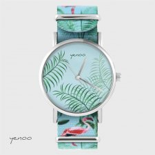 Zegarek - Jungle leaves - flamingi, nato