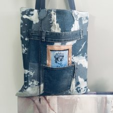 Torba denim- upcycling , unisex