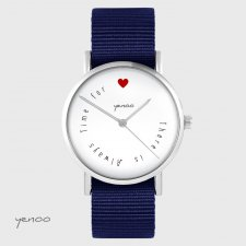 Zegarek yenoo - There is always time for love - granatowy, nato