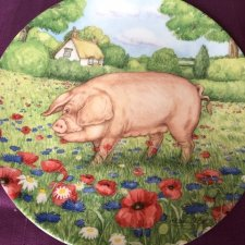 Royal Doulton 1997 - Cornflower by Debbie Cook a charming ' hampshire ' with  her piglets  in the ' collection kolekcjonerski talerz porcelanowy z cer