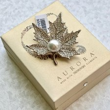 Swarovski Elements Aurora Brooch with Pearl ❀ڿڰۣ❀ SILVER PLATED ❀ڿڰۣ❀ Broszko - wisior