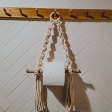 Macrame paper towel holder Uchwyt na papier toaletowy