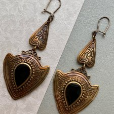 ANTIQUE EARRINGS BRONZE  ❀ڿڰۣ❀ Brąz i onyks