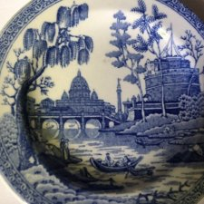 "the spode blue room collection  georgian series ""girl At well"" reproduced a hand engraved Cooper plate  niewielki porcelanowy talerzyk spode"