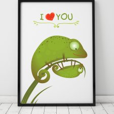 plakat. i love YOU. kameleony (format A3)