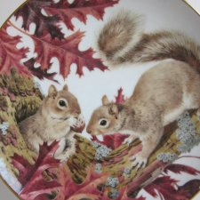 The Forest Year porcelain plate collection by JOHN FRANCIS -SQUIRRELS SAMPLE THE ICTOBER HARVEST -THE COLLECTORS STUDIO 1982 CRAFTED IN JAPAN