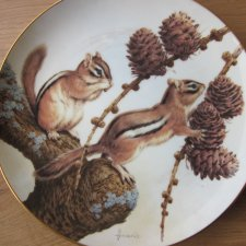The Forest Year porcelain plate collection by JOHN FRANCIS -CHIPMUNKS ENJOY A SEPTEMBER TREAT  -THE COLLECTORS STUDIO 1982 CRAFTED IN JAPAN