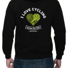 Bluza z kapturem, dwustr. nadruk. I love cycling