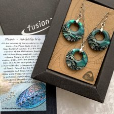 Wonderful Jewellery ✿✿ New Zealand Paua Creole Shell Pendant Earring Set ✿✿ Komplet prezentowy