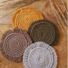Macrame Coasters | Boho Coasters | Macrame Plant Rug | Recycled Cotton | Avokado | Coffee | Grey | Eco Friendly |