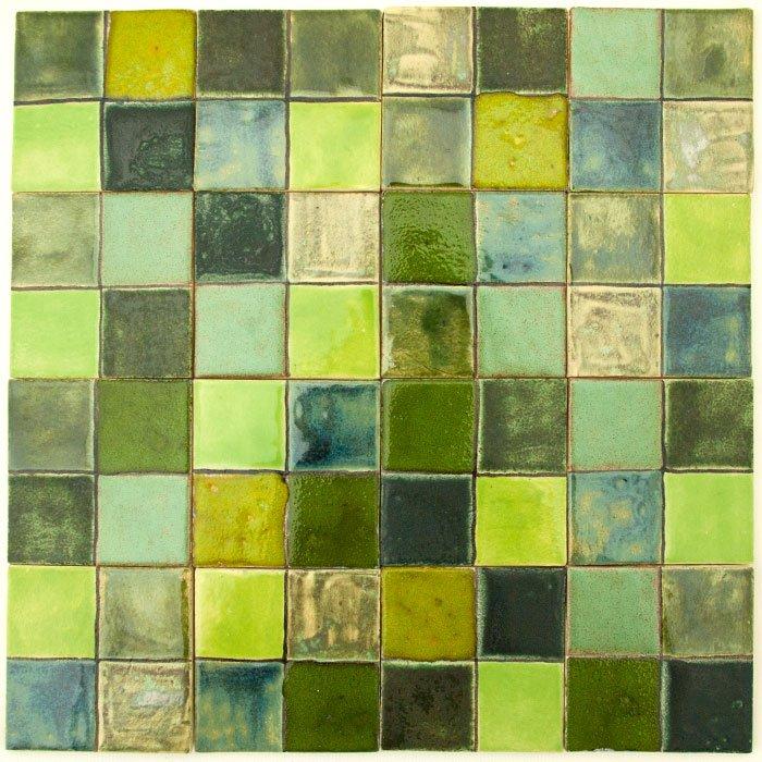 Kafle Do łazienki Malowana Mozaika Zielona