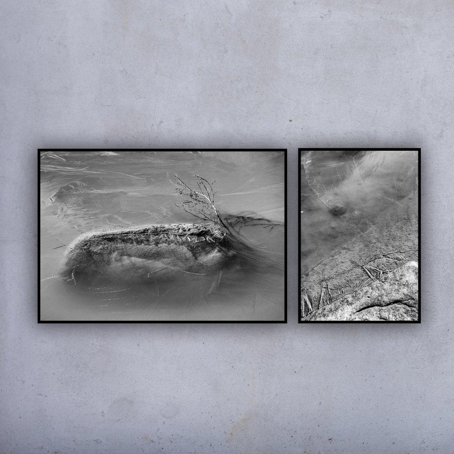 2 Plakaty Czarno Białe 100x70 I 50x70 Woda