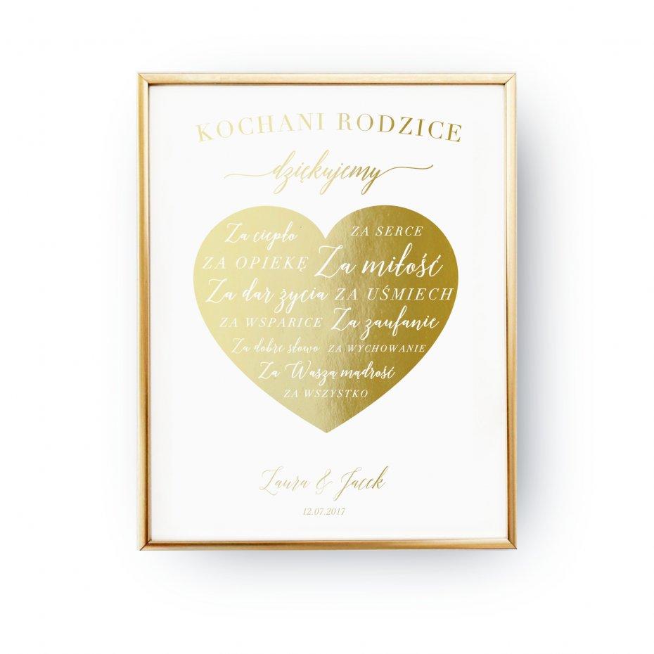 Kochani Rodzice Dziękujemy Plakat ślubny Złoty Druk
