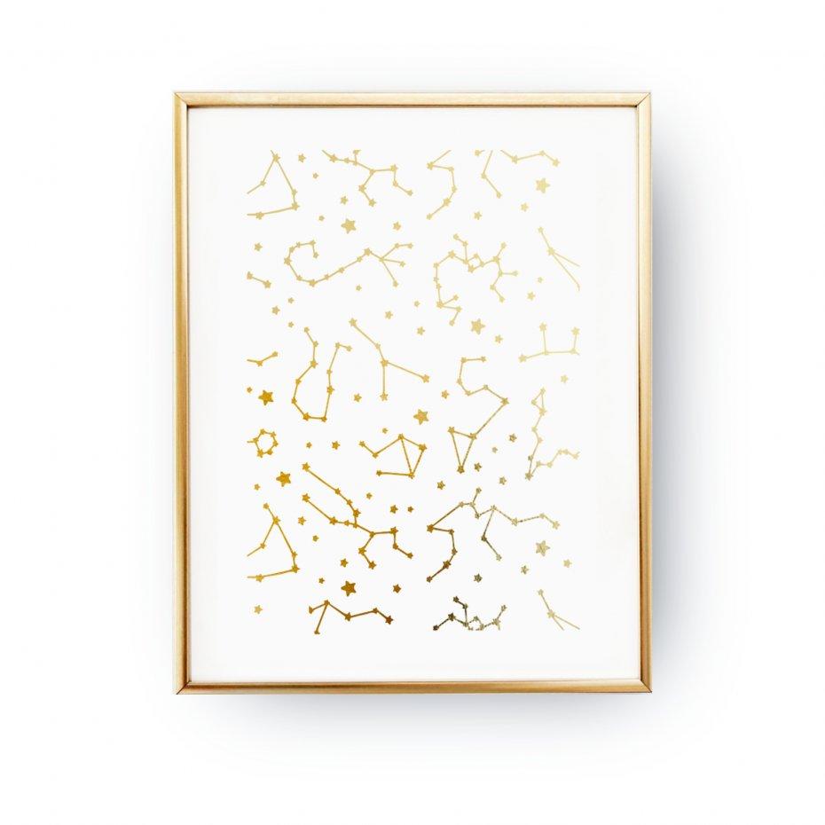 Plakat Konstelacja Gwiazd Złoty Druk