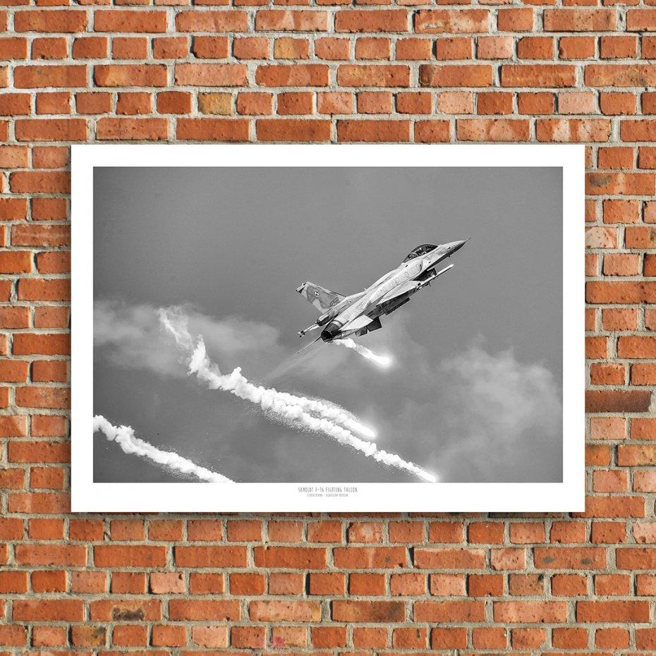 Plakat 100x70 Cm Samolot F 16 Czarno Biały 01