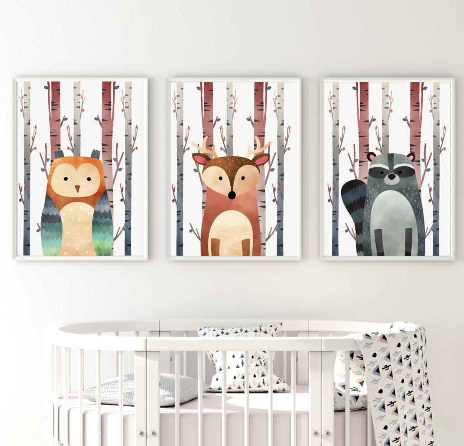Plakaty Leśne Zwierzęta Sowa Lis Szop