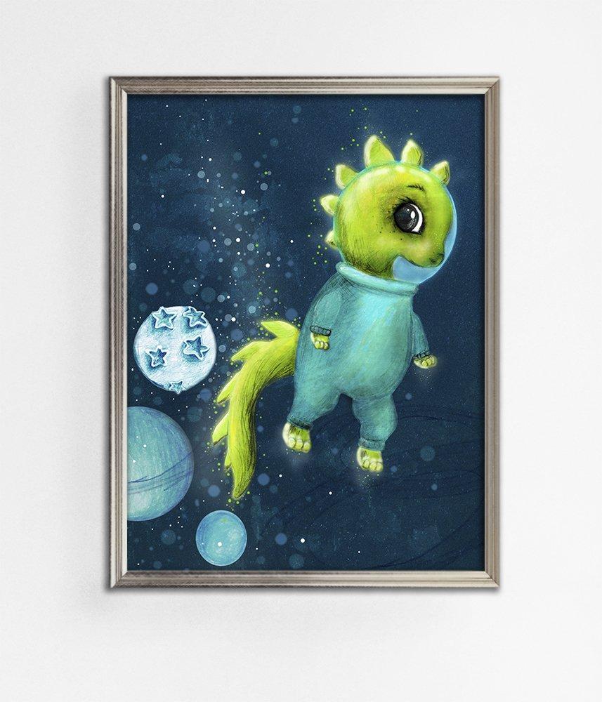 Kosmos Plakat Ze Zwierzątkiem Dla Dziecka Dekoracje ściany Dekoracje Dla Dzieci Pokój Dziecka Dinozaur