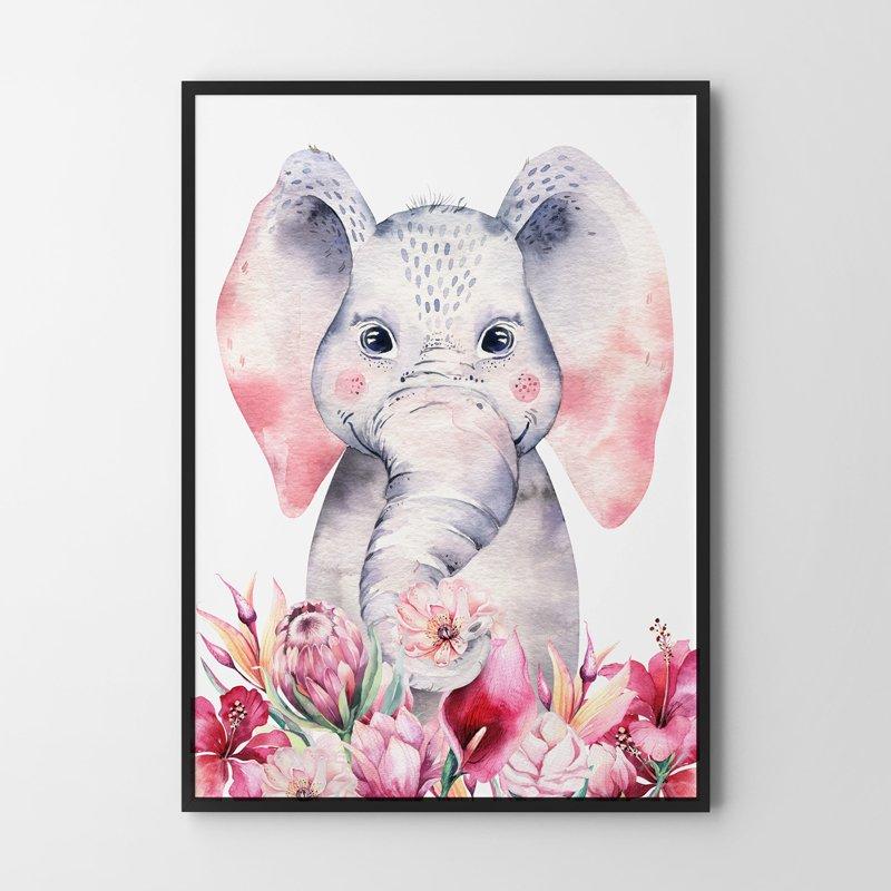 Plakaty Do Pokoju Dziecka Słonik Kwiaty 30x40 Cm